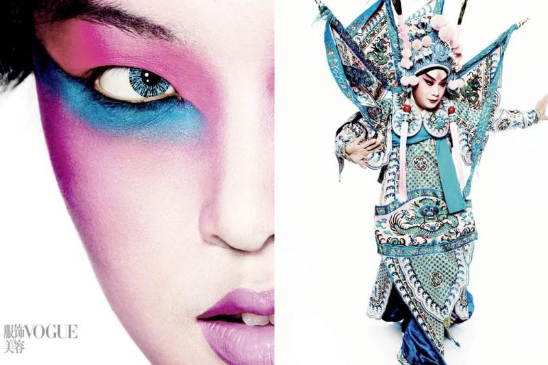 The Grand Masters in Vogue China featuring Tian Yi and Song Xiaochuan. Photo by Mario Testino