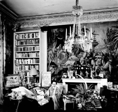Schiaparelli in her Jean-Michel Frank-designed apartment, decorated with personal items from her artist friends