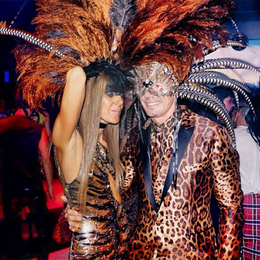Anna Dello Russo suffered a glamorous case of jungle fever with Stefano Gabbana at the Hallowood 2013 event.
