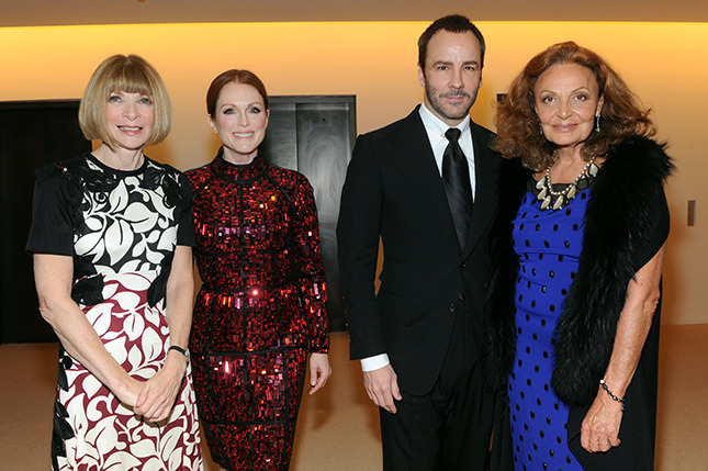 Editor-in-chief of American Vogue Anna Wintour, actress Julianne Moore, designer Tom Ford and designer Diane von Furstenberg attend CFDA and Vogue 2013 Fashion Fund Finalists Celebration at Spring Studios on November 11, 2013 in New York City. (Photo by Jamie McCarthy/Getty Images)