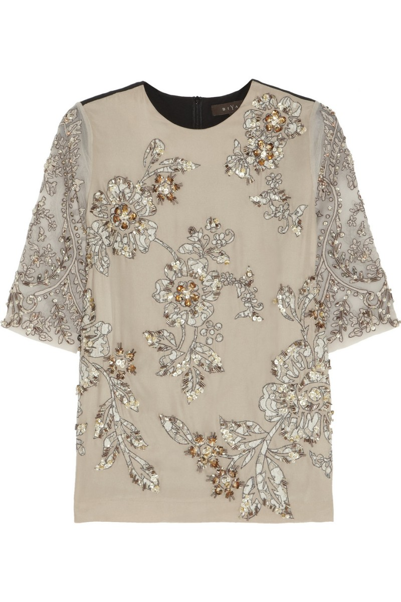 BIYAN Jane embellished silk-blend top €815
