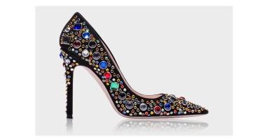 Calfskin heels with rhinestones and studs, Miu Miu, €850.