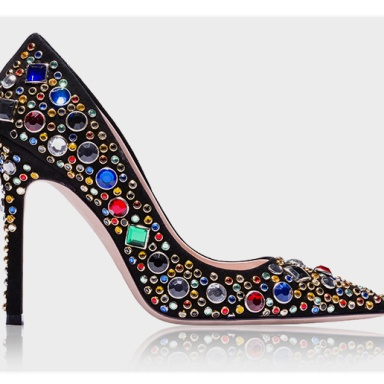 Calfskin heels with rhinestones and studs, Miu Miu, €850.