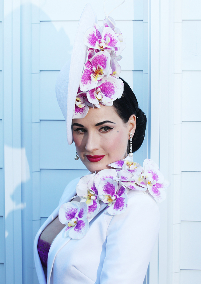 Dita Von Teese attends the Myer Marquee at the Melbourne Cup.