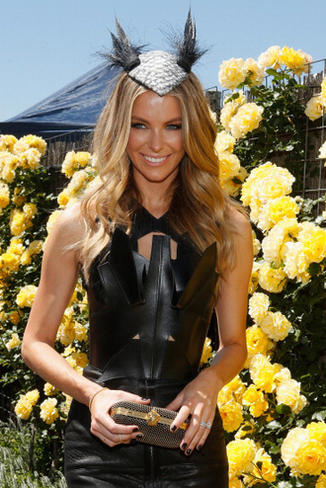 Jennifer Hawkins attends the Myer marquee on Victoria Derby Day at Flemington Racecourse on November 2, 2013 in Melbourne, Australia.  (Photo by Lucas Dawson/Getty Images)