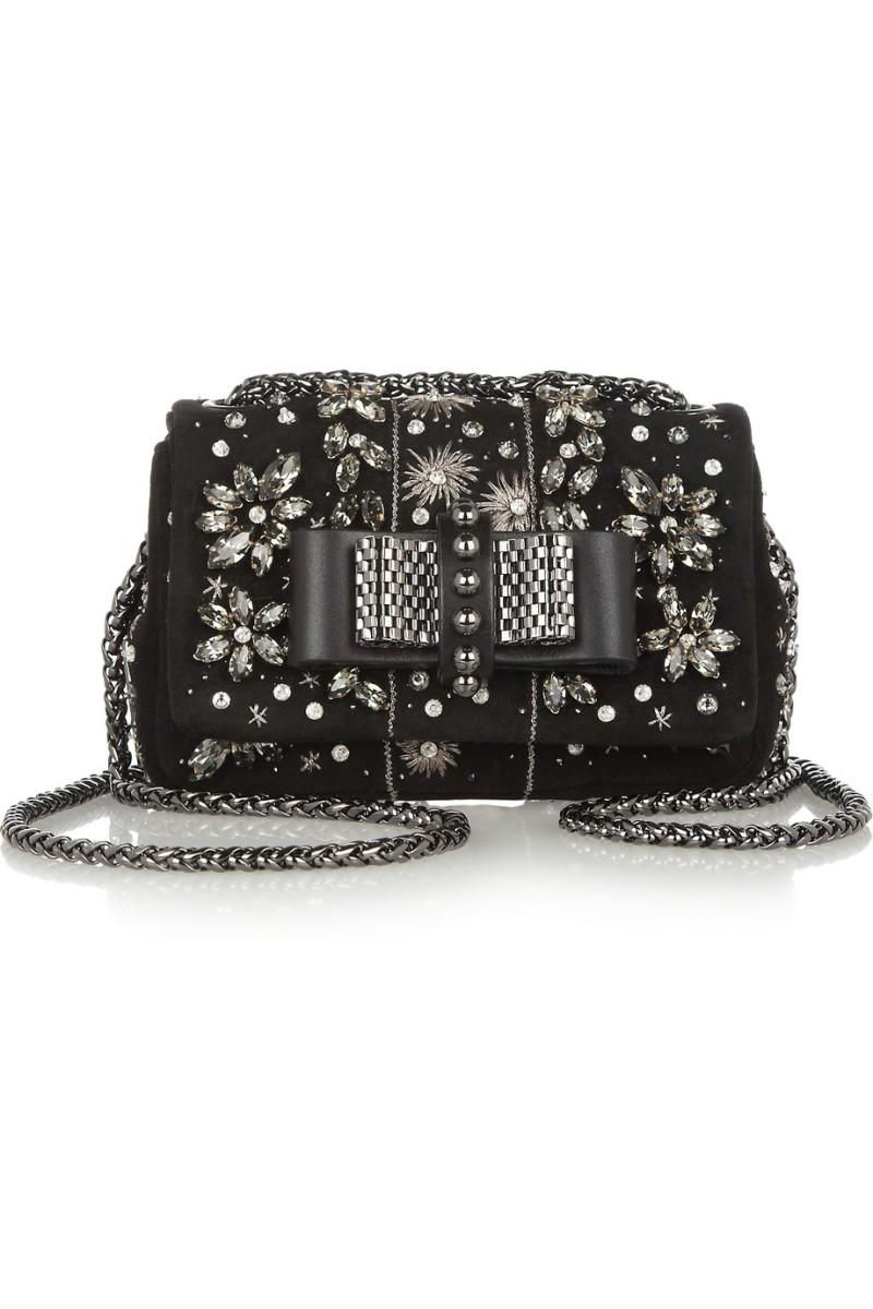 CHRISTIAN LOUBOUTIN Sweet Charity Mini embellished suede shoulder bag €1,195