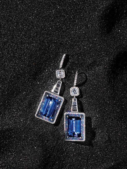 Martin Katz  Tanzanite earrings with multicolor sapphires and diamonds set in 18k white gold. USA. $98,000.
