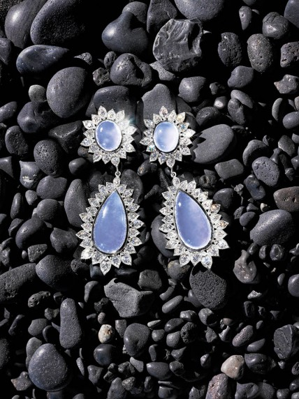 "Jamie Wolf  Blue chalcedony double-drop earrings with 18k white gold and diamond ""Aladdin"" edging. USA. $12,990."