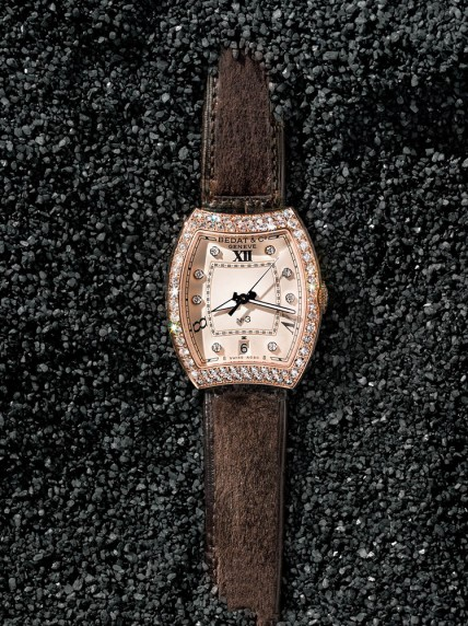 """Bedat & Co. """"No. 3"""" watch in 18k rose gold with diamond bezel on brown alligator and mink fur strap. Automatic. Switzerland. Fur from Denmark and chrome-tanned. $31,750."""