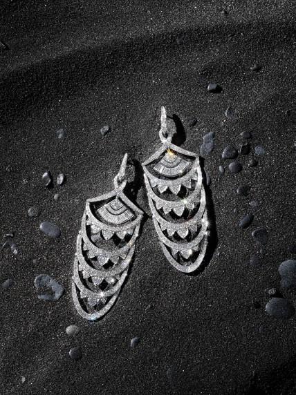 "Stephen Webster ""New York"" deco-inspired chandelier earrings in 18k white gold with diamonds. England. $69,660."