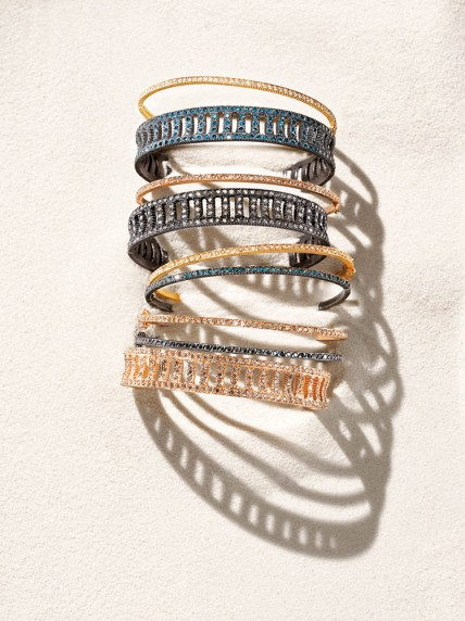 """Yossi Harari """"Lilah"""" corset cuffs and oval bracelets in oxidized gilver and 18k rose and yellow gold with assorted diamonds. Turkey. $2,500–$26,195."""