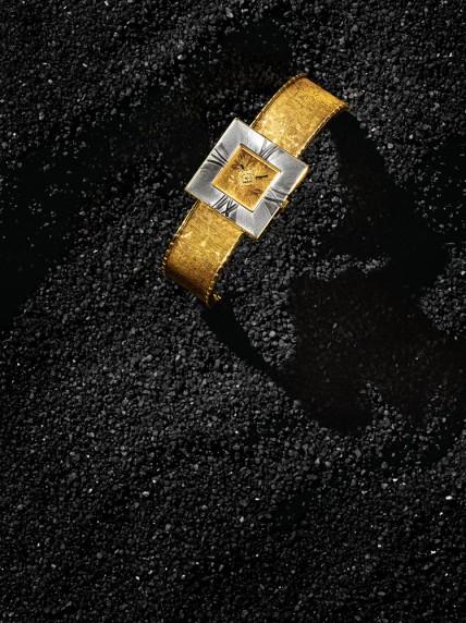 "Buccellati Hand-engraved 18k white and yellow gold ""Agalmachron Damasco"" watch. Quartz. Switzerland. $33,700."