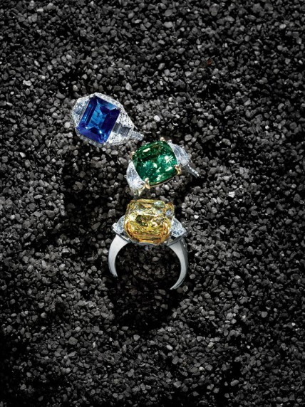 Bayco  Rings in 18k yellow gold and platinum settings with diamonds. USA. Blue sapphire $90,000. Fancy intense yellow diamond $800,000. Green sapphire $50,000.