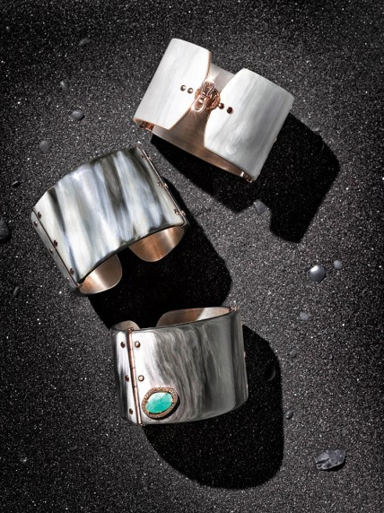 Federica Rettore Mélange zebu horn cuff with 18k rose gold hinges and rivets, sterling silver interior and handmade butterfly clasp. $5,950. With portrait-cut emerald, brown diamond and 18k rose gold detail $9,100. Italy.