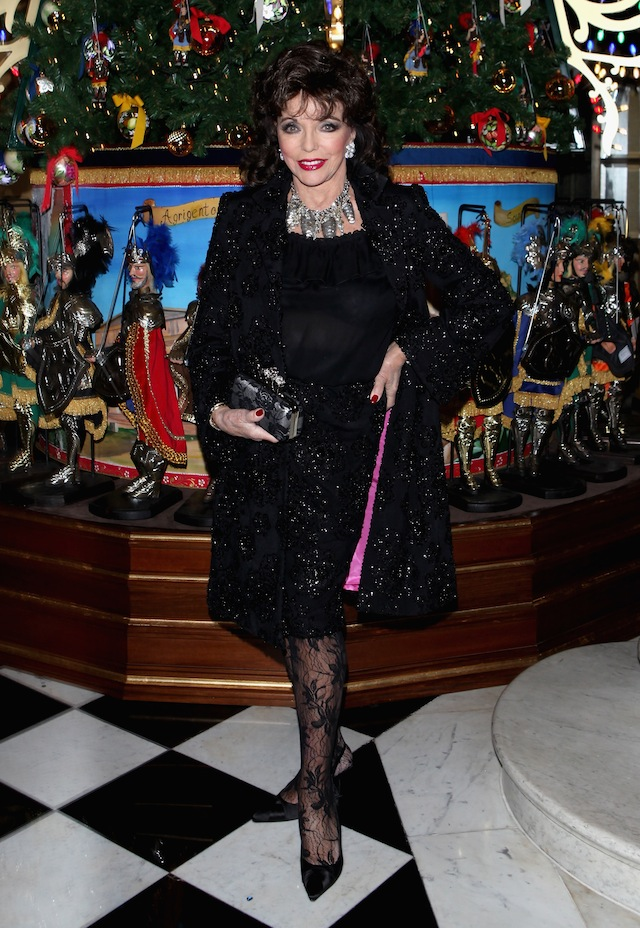 Joan Collins attends Claridge's Christmas Tree By Dolce & Gabbana launch party at Claridge's Hotel on November 26, 2013 in London, England.  (Photo by David M. Benett/Getty Images for Claridge's)