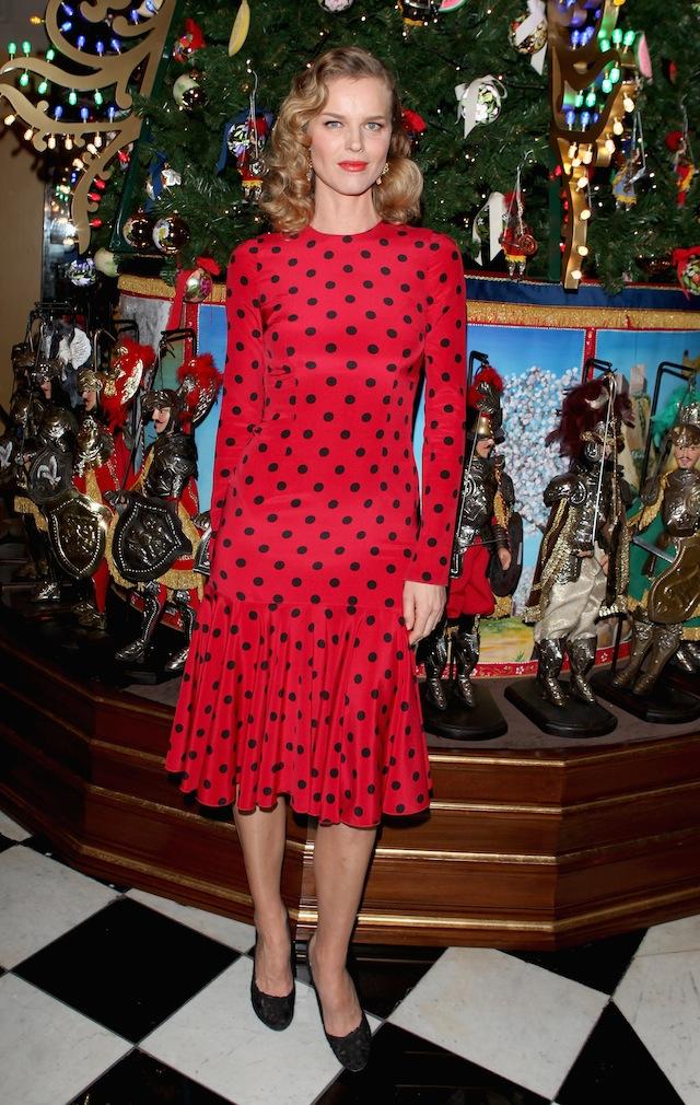 Eva Herzigova attends Claridge's Christmas Tree By Dolce & Gabbana launch party at Claridge's Hotel on November 26, 2013 in London, England.  (Photo by David M. Benett/Getty Images for Claridge's