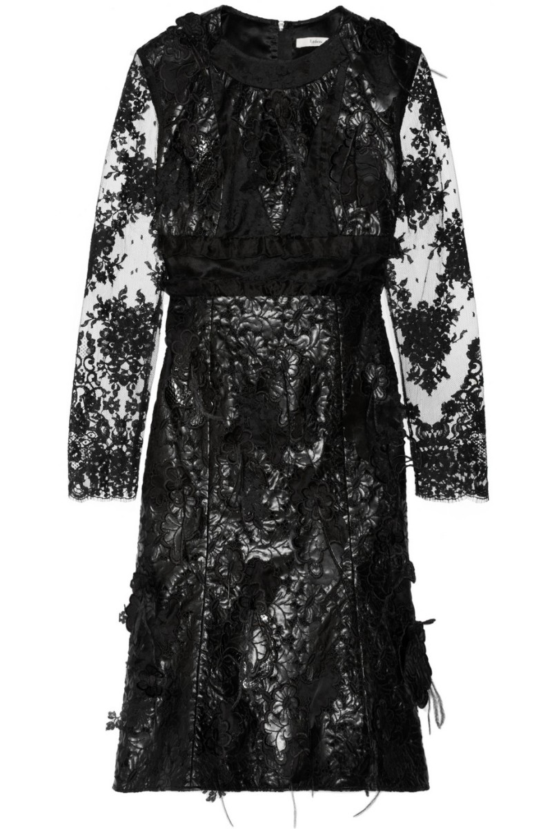 ERDEM Bobin embellished faux leather and lace dress €5,880