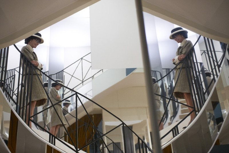 Geraldine Chaplin as Gabrielle Chanel on the famous mirrored staircase. Photo by Olivier Saillant