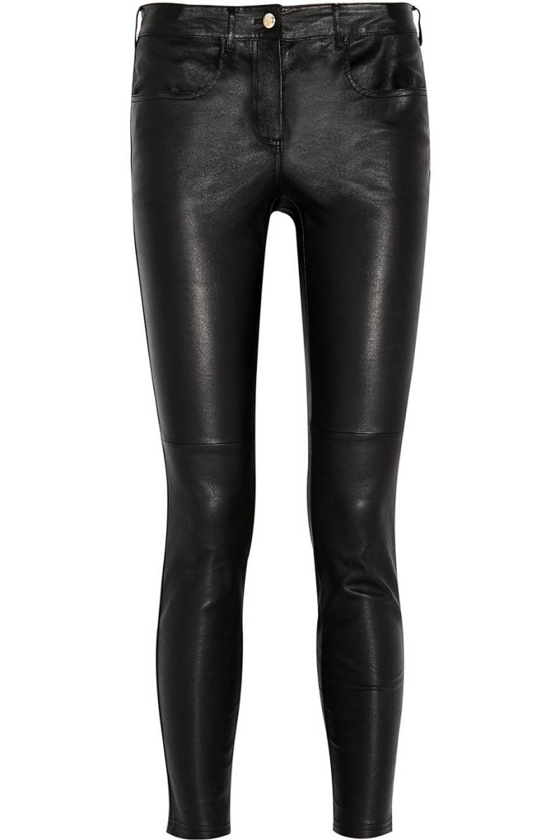 rag & bone/JEAN Skinny Leather Ankle Pants, Black Details rag & bone/JEAN washed lamb leather pants. Approx. measurements: 30