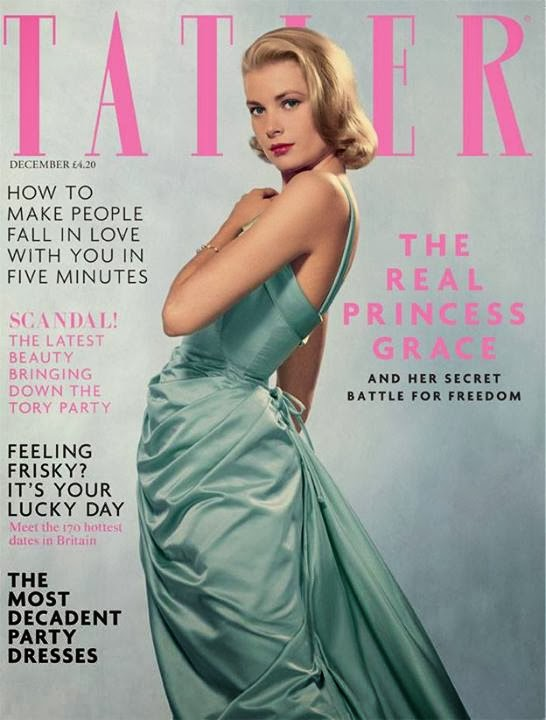 """Grace Kelly for Tatler UK December 2013 The icy green dress on the cover is by Edith Head, the most influential costume designer who outfitted Kelly in movies like """"To Catch A Thief."""" Grace Kelly wore the green frock to the 1955 Oscars and was later photographed in it by Life magazine."""