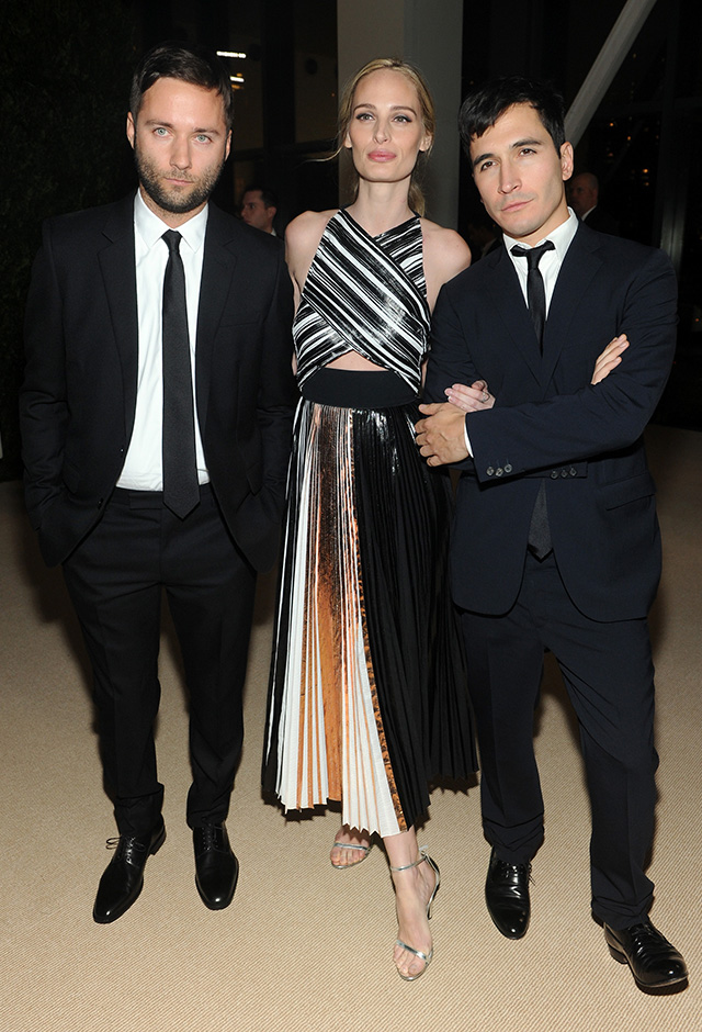 Proenza Schouler's Lazaro Hernandez and Jack McCollough pose with Lauren Santo Domingo attend CFDA and Vogue 2013 Fashion Fund Finalists Celebration