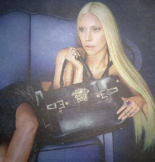 Lady Gaga by Mert Alas and Marcus Piggott for Versace Spring/Summer 2014 Ad Campaign source : twitter/LadyGagaNowNet