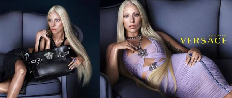 Lady Gaga by Mert Alas and Marcus Piggott for Versace Spring:Summer 2014 Ad Campaign source : facebook.com/ladygaga