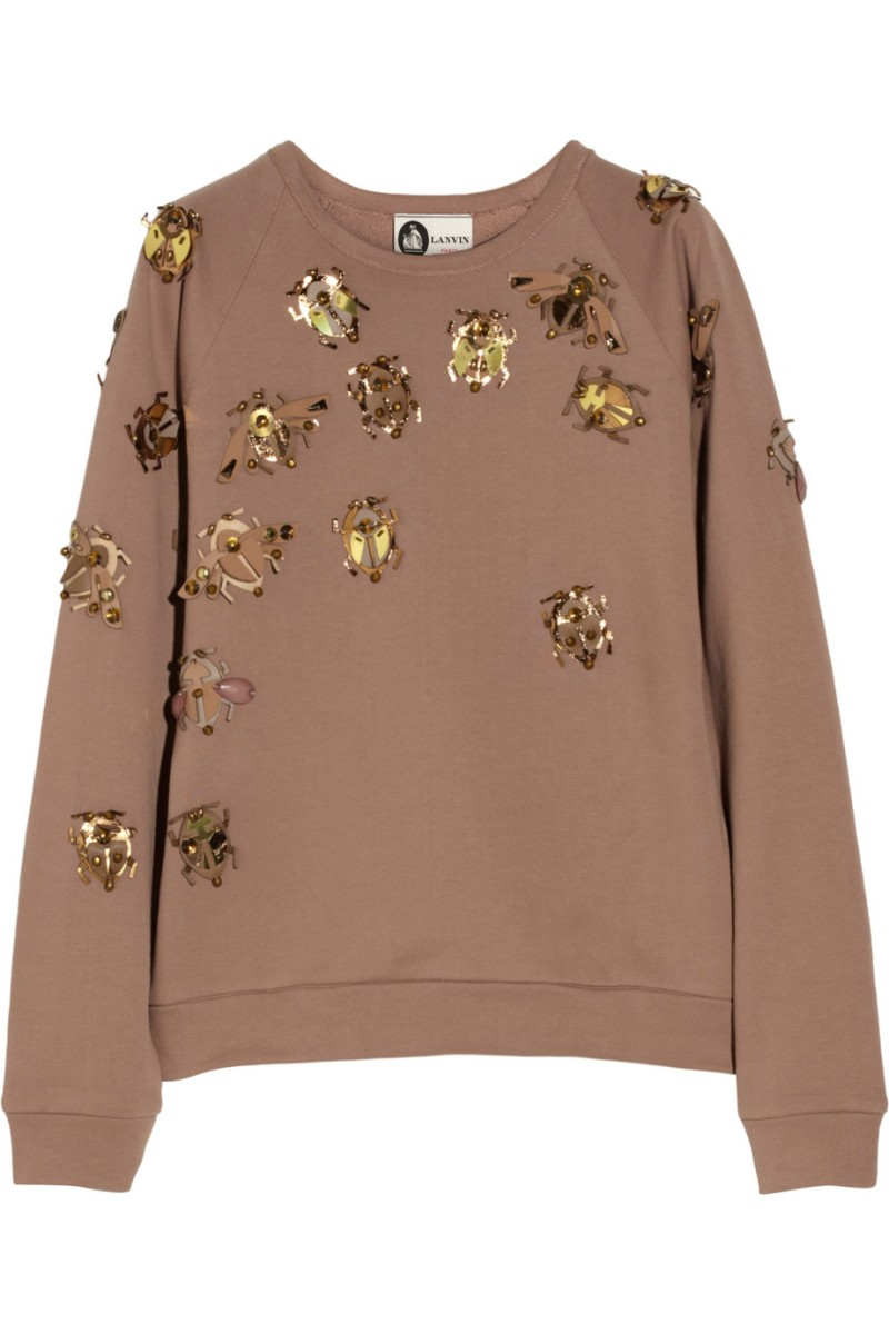 LANVIN Embellished cotton-terry sweatshirt €985