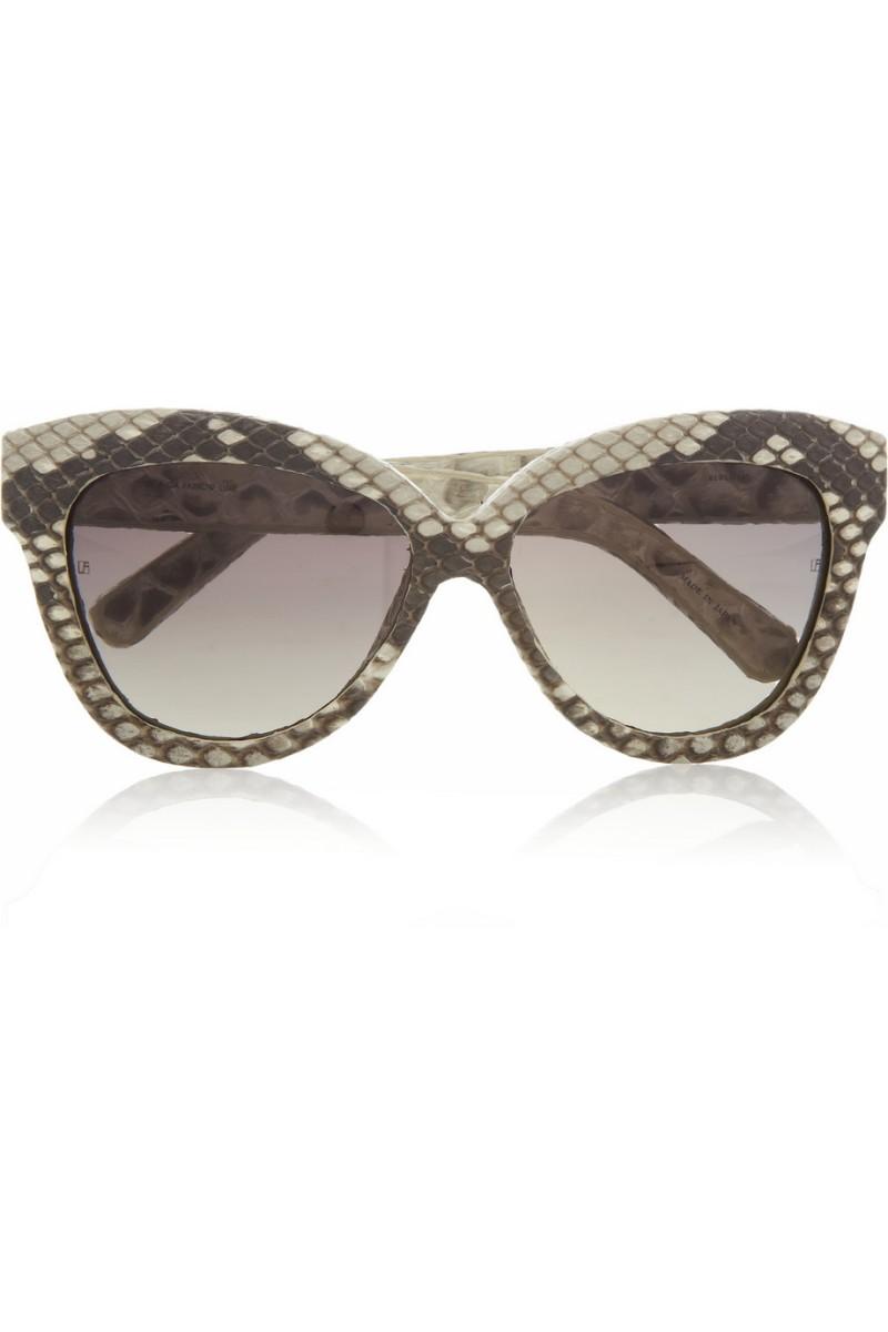 LINDA FARROW Cat eye python-covered sunglasses €945