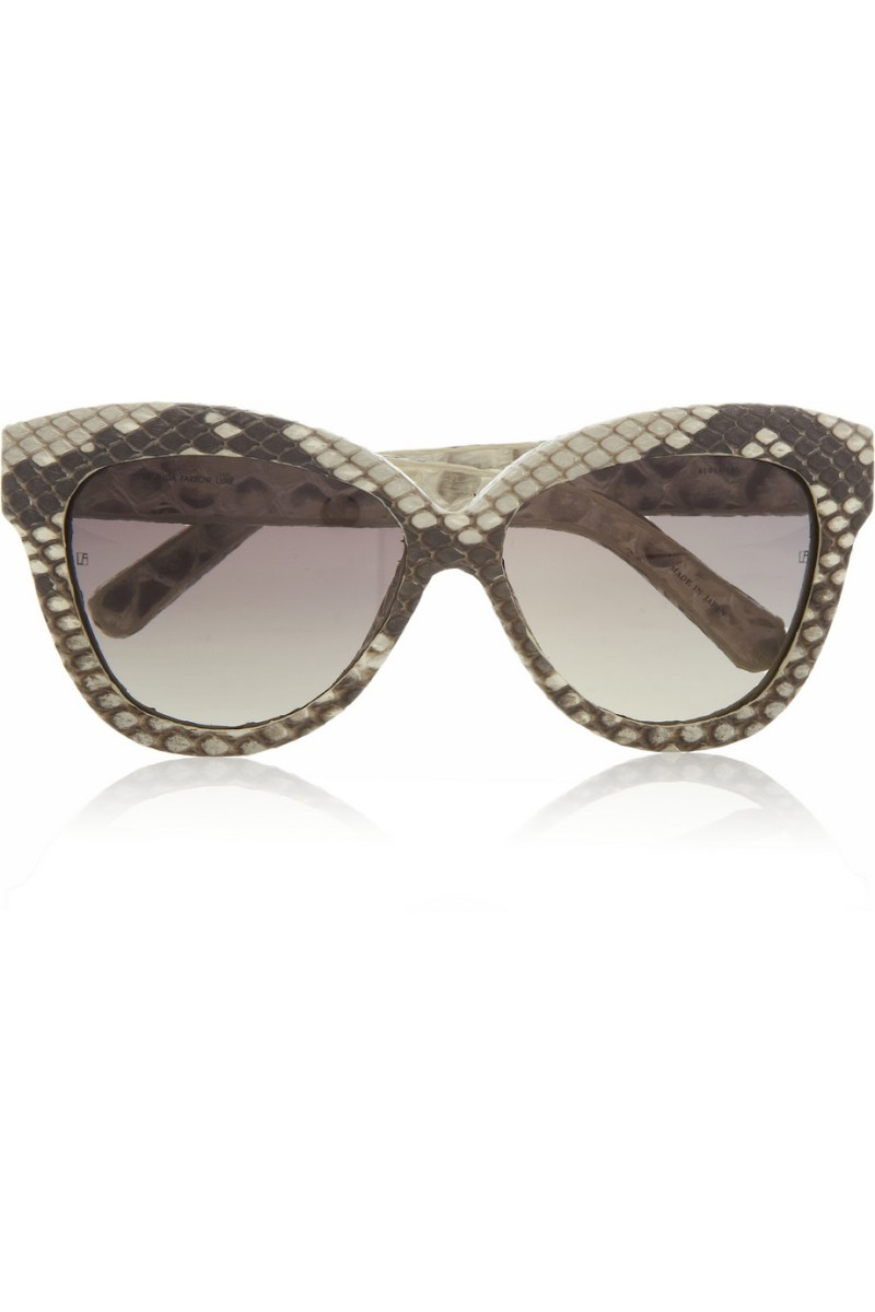 LINDA FARROW Cat eye python-covered sunglasses €945