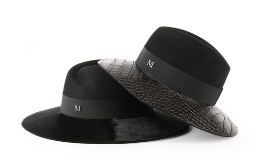 Virginie, felt trilby with large ponyskin skin brim, €715. Henrietta felt trilby with large crocodile skin brim, €4940.