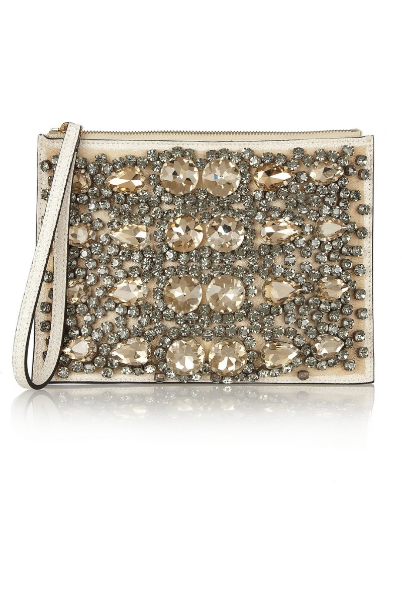 MARNI Crystal-embellished leather clutch €750