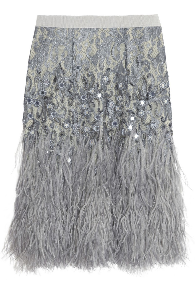 MATTHEW WILLIAMSON Feather-trimmed embellished lace skirt €2,450