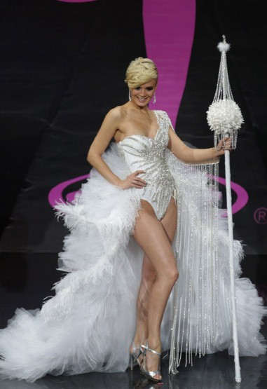 Miss Switzerland showcased her erm, inner showgirl in a leotard and not much else