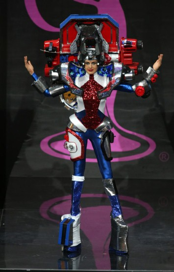 Miss USA in what could be a Transformers costume