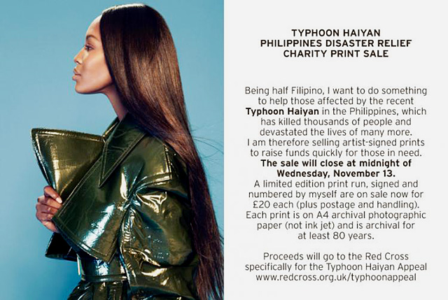 Naomi Campbell by John-Paul Pietrus for Typhoon Haiyan Appeal