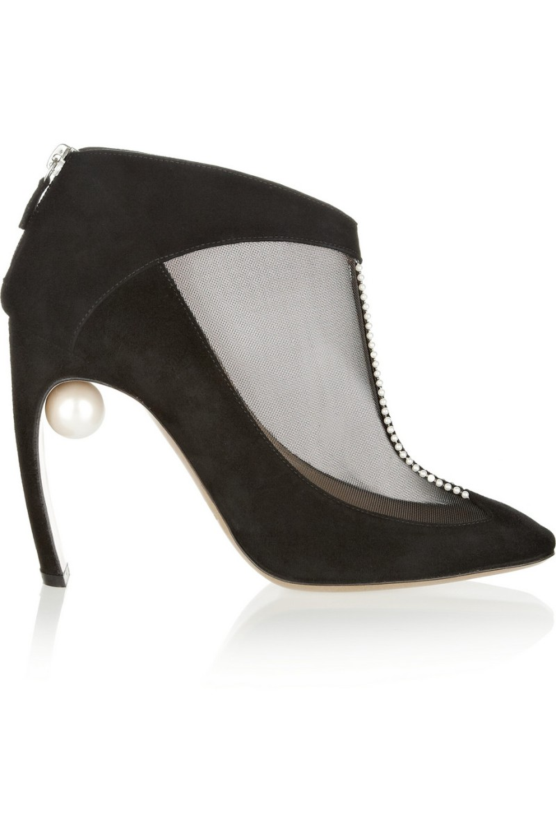 NICHOLAS KIRKWOOD Embellished suede and mesh ankle boots €770