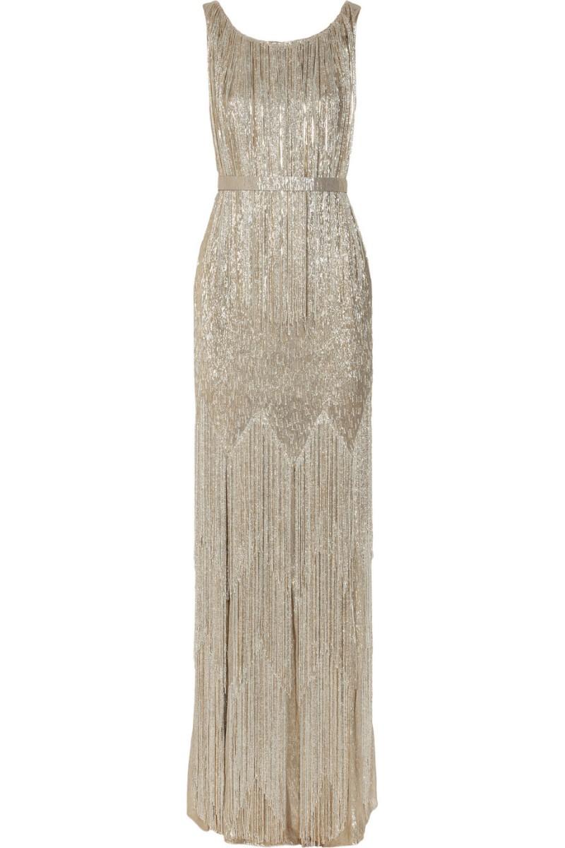 OSCAR DE LA RENTA Beaded metallic silk-blend gown €11,640