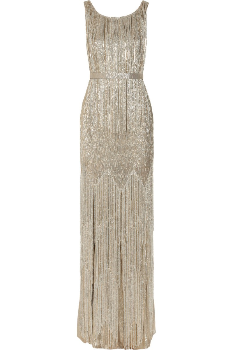 OSCAR DE LA RENTA Beaded metallic silk-blend gown €11,640