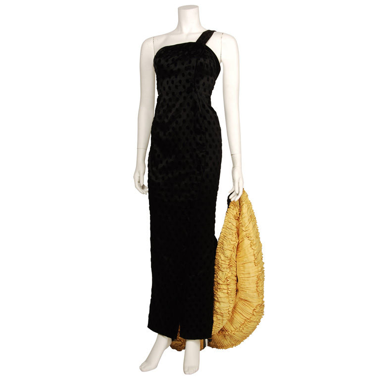 Patou 1930s Black Satin and Velvet Gown with Train