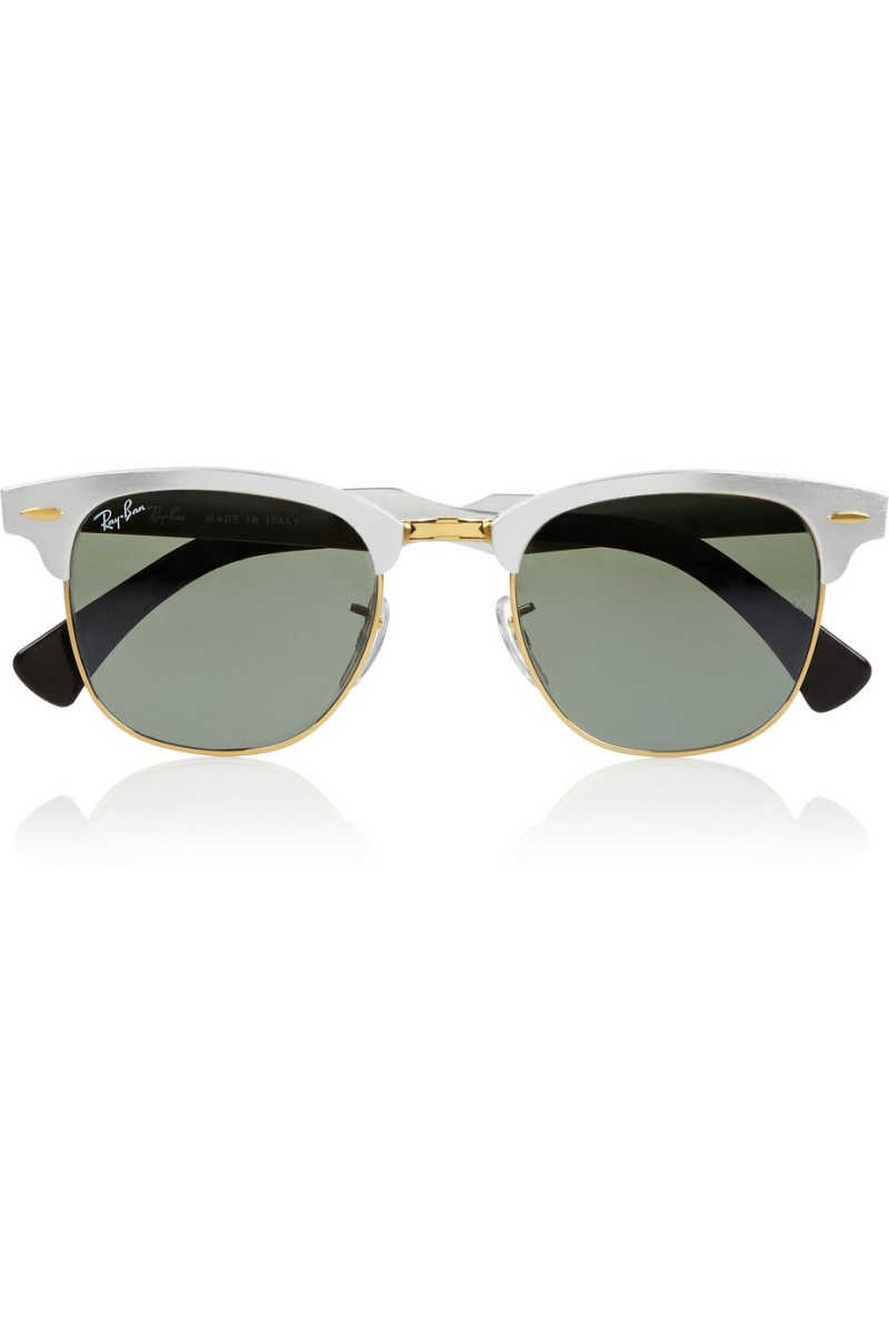 RAY-BAN Clubmaster D-frame mirrored aluminum sunglasses €205