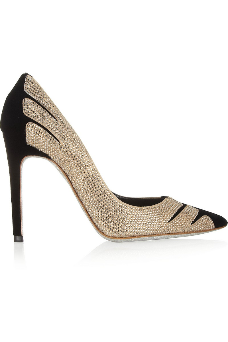 RENÉ CAOVILLA Swarovski crystal-embellished velvet and suede pumps €1,485