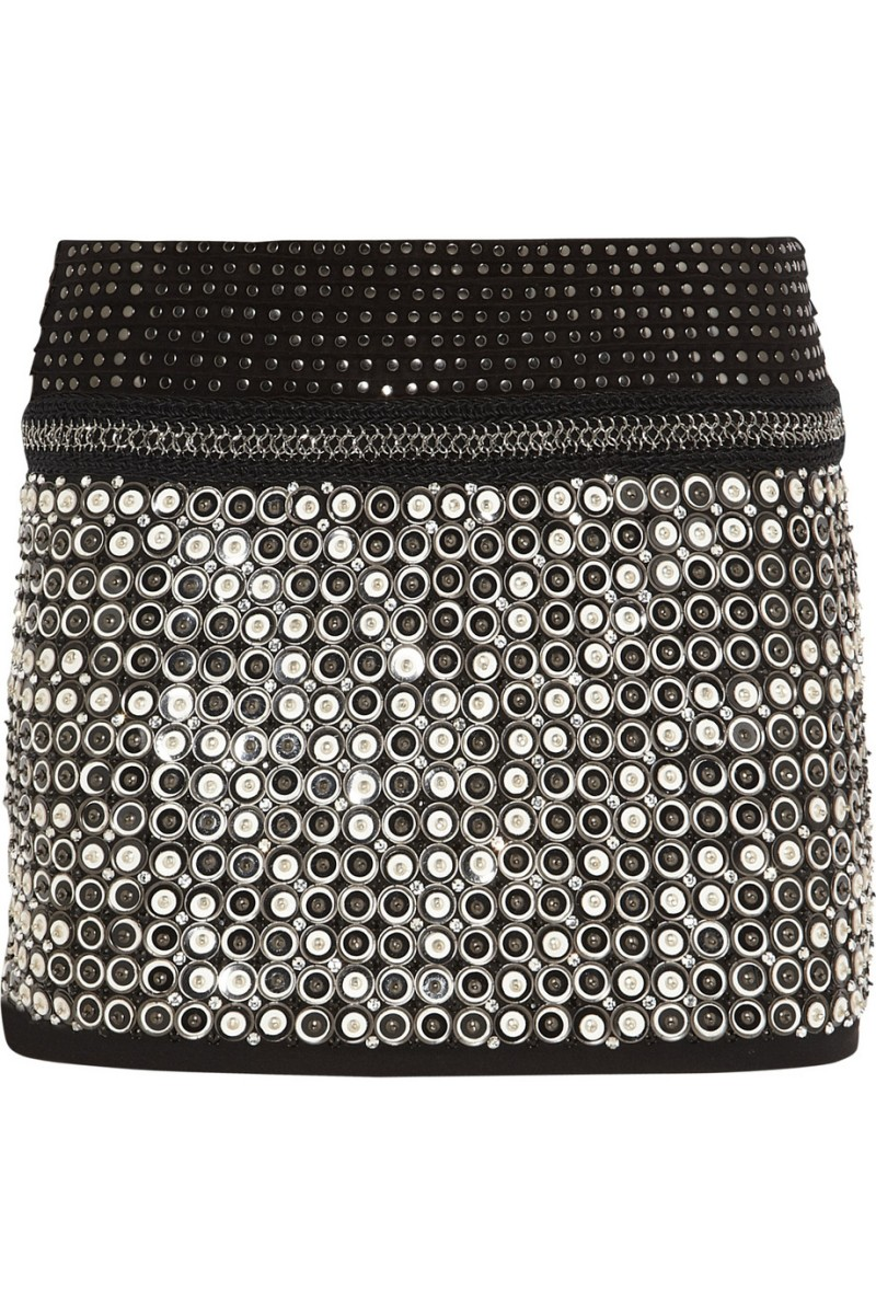 ROBERTO CAVALLI Embellished leather and suede mini skirt €3,835