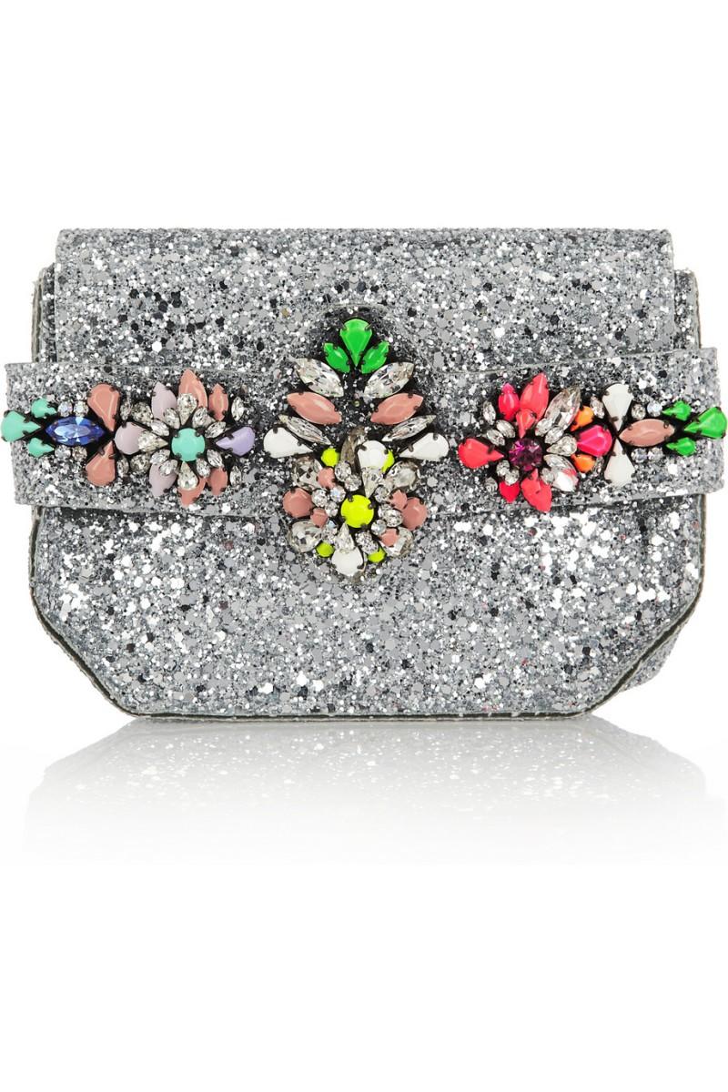 SHOUROUK Crystal-embellished glitter-finished PVC clutch €995