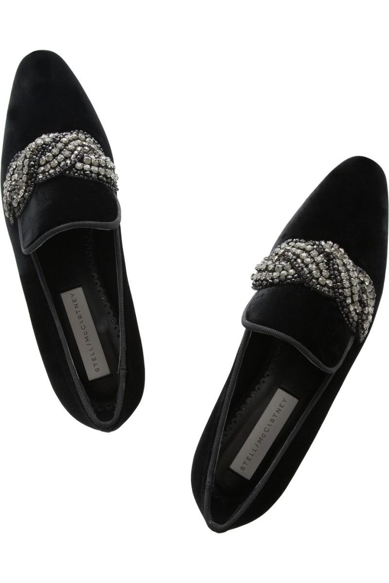 STELLA MCCARTNEY Crystal-embellished velvet slippers €555