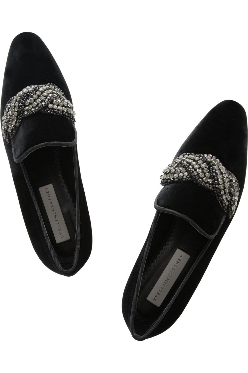 STELLA MCCARTNEY Crystal-embellished velvet slippers €555