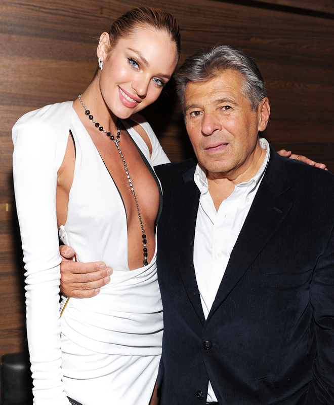 Candice Swanepoel and President and Chief Marketing Officer of Victoria's Secret Ed Razek attend the 2013 Victoria's Secret Fashion after party at TAO Downtown