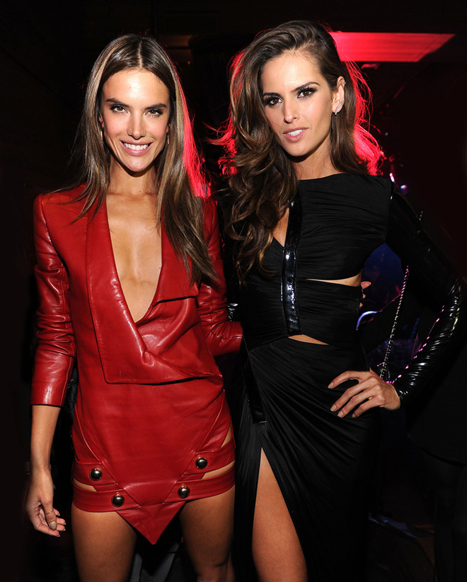 Alessandra Ambrosio (L) and Izabel Goulart attend the 2013 Victoria's Secret Fashion after party at TAO Downtown