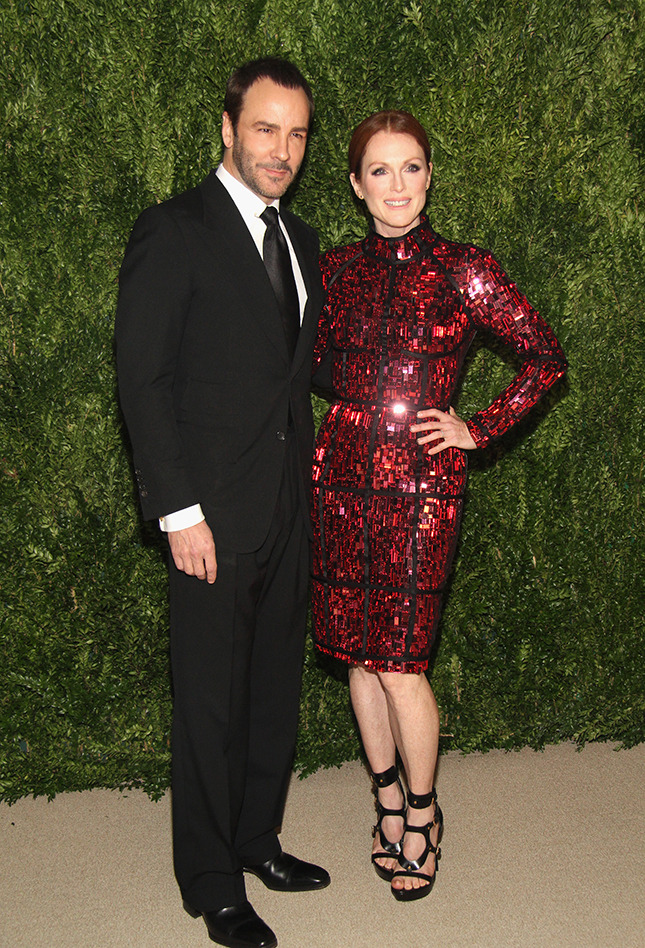 Designer Tom Ford and actress Julianne Moore attend CFDA and Vogue 2013 Fashion Fund Finalists Celebration at Spring Studios on November 11, 2013 in New York City.