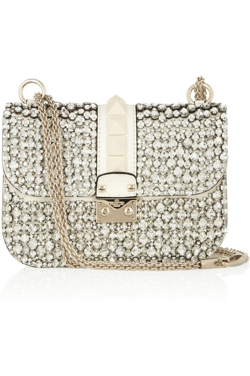 VALENTINO Glam Lock crystal-embellished leather shoulder bag €2,300